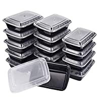 15-Pack Single Compartment Food Storage Tupperware Bento Lunch Boxes with Lids - Stackable, Reusable, Microwave, Dishwasher & Freezer Safe