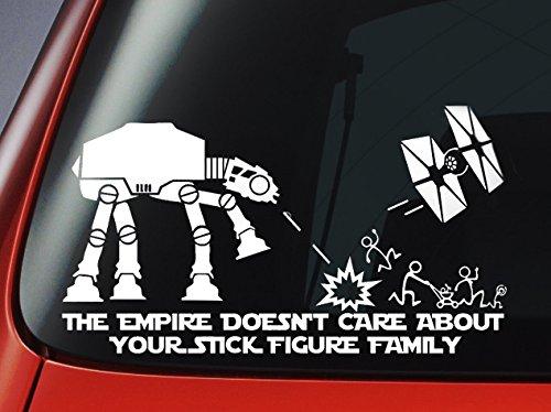 Level Autoscheiben-Sticker Star Wars ATAT & Tie Fighter 'The Empire Doesnt Care About Your Stick Figure Family, Vinyl, Dekoration