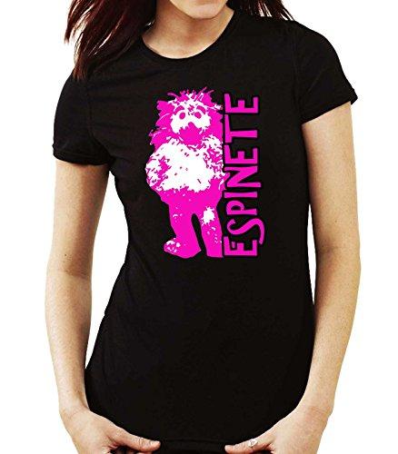 Camiseta Mujer Espinete tv retro 80, NEGRA, M