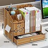 QFFL zhuomianshujia Desktop-Aufbewahrungsbox aus Holz Bürobedarf Ordner Schublade Büroregal (3 Farben, 3 Styles) Bücherregale (Farbe : Kirschholz, größe : 33×23.5×30.5cm)