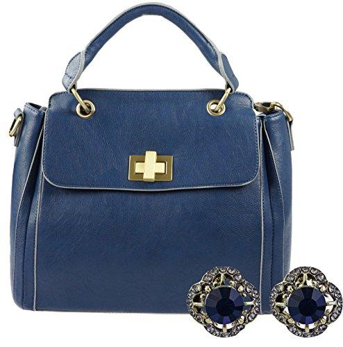 Portogarda Damen Henkel-Tasche zusammen mit Armband, schönes Geschenk-Set- Designer-Tasche von Kaytie Wu mit Ohrstecker mit dunkel- blauen Steinen