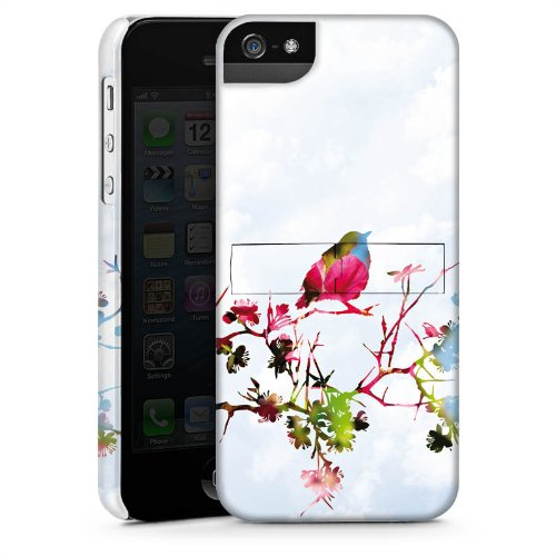 Apple iPhone 5s Housse Étui Protection Coque Oiseau Moineau Branche CasStandup blanc