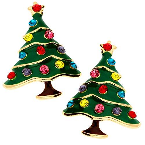 en Weihnachts Ohrringe Ohrstecker Weihnachtsbaum Christbaumkugel Kristallen Grün Gold Bunt MYA-MODOHR-1 (Niedliche Schwester Kostüme)