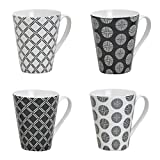 Tassen Set, 250 ml, 4er Set, Henkeltassen, Henkelbecher aus Porzellan weiß/schwarz Retro Muster 4