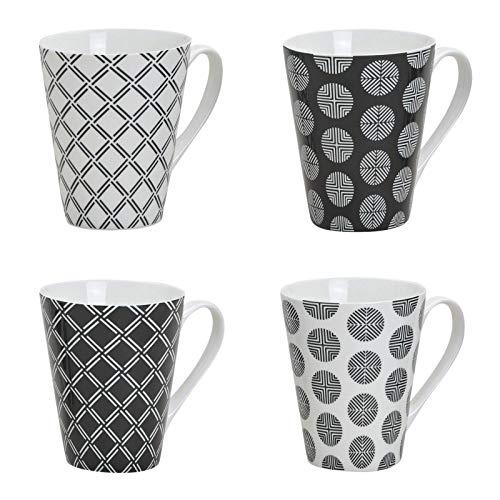 Tassen Set, 250 ml, 4er Set, Henkeltassen, Henkelbecher aus Porzellan weiß/schwarz Retro Muster 4 (Tee-set Schwarz Und Weiß)