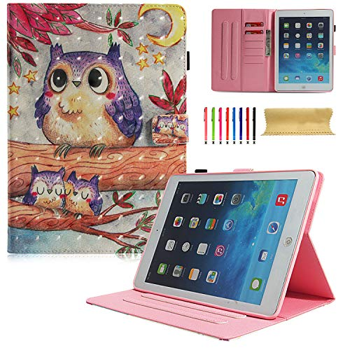 2017 / iPad Air 2 / iPad Air Hülle Slim Shell Auto Sleep Wake Kickstand Folio Schutzhülle für Apple iPad 9.7 6. 5. Generation, iPad Air 1 2 001 Purple Owl ()