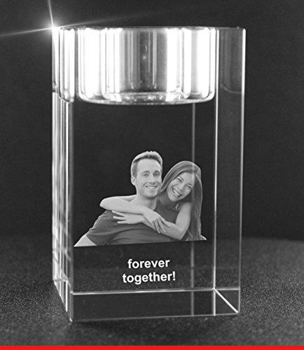 VIP-LASER 2D GRAVUR Glas Kristall Teelichthalter Teelicht Halter mit dem Foto Deines Freundes, deiner Freundin oder Deinen Freunden graviert. Dein...