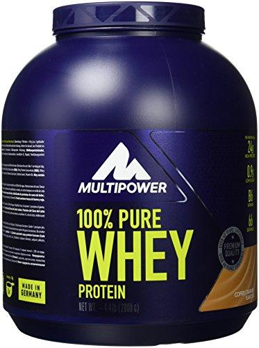 Multipower 100% Pure Whey Protein – wasserlösliches Proteinpulver mit Coffee Caramel Geschmack – Eiweißpulver mit Whey Isolate als Hauptquelle – Vitamin B6 und hohem BCAA-Anteil – 2 kg