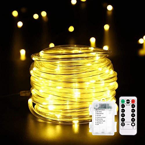 14M 120er LED Lichterschlauch mit Fernbedienung Timer, B-right 8 Modi Led schlauch mit Memory-Funktion für Innen Außen Party Weihnachten, IP44 Lichtschlauch Dekolicht Batteriebetrieben Warmweiß