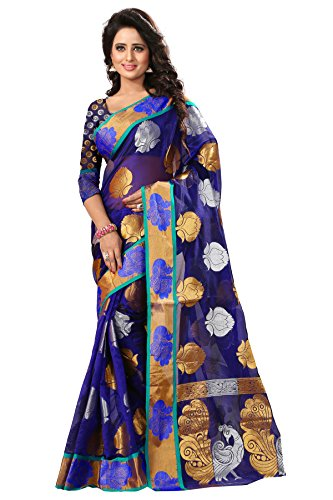 Spangel Fashion Tissue Jaquard Saree (Haka Kolam 1 Blue_1_Blue With Gold)