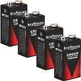 4x Kraftmax Lithium 9V Block Hochleistungs- Batterien...