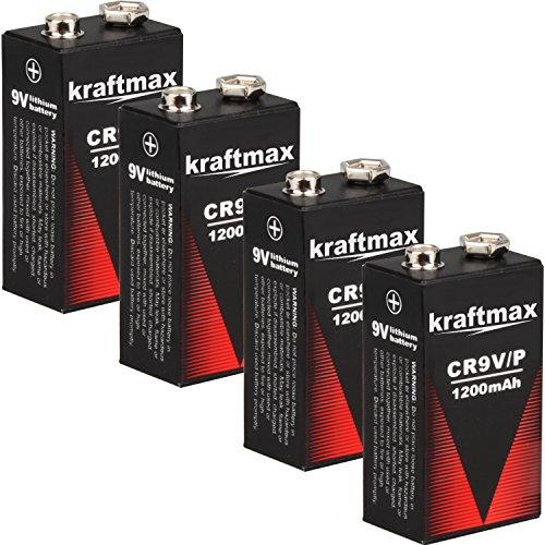 4x Kraftmax Lithium 9V Block Hochleistungs- Batterien für Rauchmelder / Feuermelder - 10 Jahre...