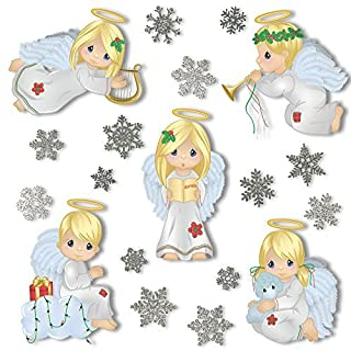 ArtiClings Christmas Angel Window Clings With 28 Glitter Snowflakes - Glueless PVC Stickers