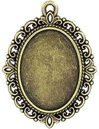 Housweety 20 Pendentifs Support de camee Ovale Fleur Bronze 4x3cm