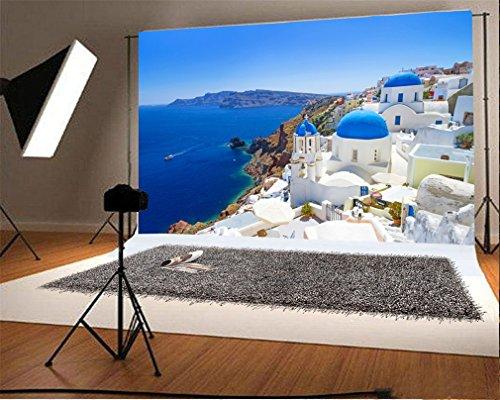 YongFoto 1,5x1m Vinilo Fondo de Fotografia Arquitectura blanca de Oia Village en la isla de Santorini Grecia Nature Paisaje Cielo azul Telón de Fondo Fiesta Niños Boby Retrato Personal Estudio Fotográfico Accesorios