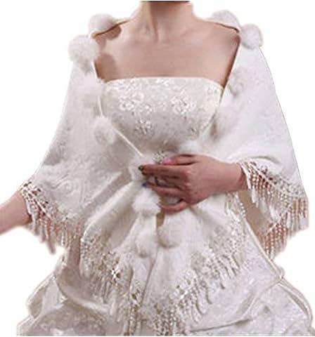 Insun Mariage Châle Écharpe Veste Manteau de Mariée Cape Boléro Manteau de Fausse Fourrure Veste de Mariée