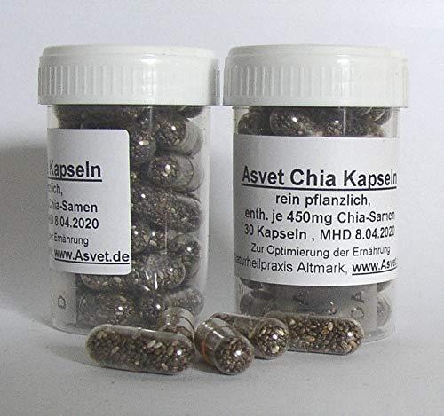 120 Kapseln Fett (Asvet 120 Chia Samen Kapseln, Abnehmen durch Sättigung, einfacher Verzehr ohne Schleim)