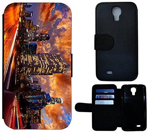 Flip Cover Schutz Hülle Handy Tasche Etui Case für (Apple iPhone 5 / 5s, 1349 Welpe Chihuahua Tier süßer Hund Hundebaby) 1353 Wolkenkratzer Skyline bei Nacht