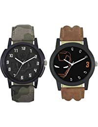 Rage Enterprise New Fashion 003-004 Fast Selling 2 Combo Branded Leather Analog Watch - For Boys And Men Analog...