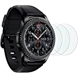 Gear S3 Screen Protector [3 Pack], OMOTON Full-Coverage Tempered Glass Screen Protector for Samsung Gear S3 with [9H Hardness] [Crystal Clear] [Scratch Resist] [Bubble Free Installation]