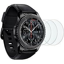 Samsung Gear S3 Cristal Templado OMOTON [3 Unidades] Protector de Pantalla Samsung Gear S3 con[9H Dureza][Garantía de por vida]
