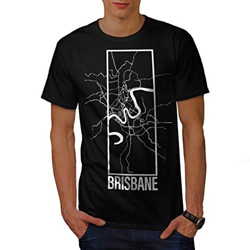 Brisbane Stadt Karte Mode Groß Stadt Karte Herren M T-shirt | Wellcoda