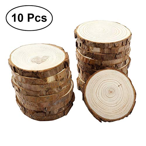5-6 cm Unfinished Natural Wood Slices10 pcs with Tree Bark Circles Log Discs for DIY Crafts Christmas Rustic Wedding Ornaments
