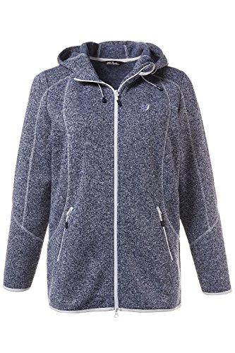 Ulla Popken Femme Grandes tailles Veste Polaire maille femmes gilet chaud gris poches zip capuche 710718 bleu foncé