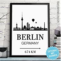 BERLIN - GERMANY - Bild mit Skyline & individueller Entfernung + Wunschtext - Rahmen optional - personalisiertes Wand-Bild - originelles Geschenk Geburtstag Jahrestag Hochzeitstag