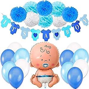 Jonami Babyparty Junge / Baby Shower Junge / Babyparty Deko - It's a Boy Blau Girlande + 1 XXL Neugeborene Folienballoon + 8 Blumenpuscheln + 12 Ballons. Baby Party / Babydusche Dekorations by