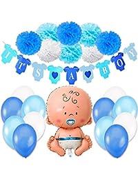 Jonami Decoraciones Fiesta de Bienvenida de Bebe Niño | Bandera Es Un Chico It's a Boy + Globo de Papel de Aluminio a Recien Nacido + 8 Pompones + 12 Globos. Accessorios Baby Shower