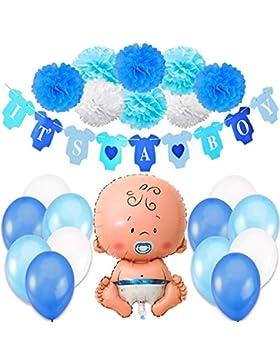 Jonami Babyparty Junge / Baby Shower Junge / Babyparty Deko - It's a Boy Blau Girlande + 1 XXL Neugeborene Folienballoon...