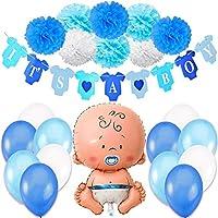 Jonami Decoraciones Fiesta de Bienvenida de Bebe Niño   Bandera Es Un Chico It's a Boy + Globo de Papel de Aluminio a Recien Nacido + 8 Pompones + 12 Globos. Accessorios Baby Shower