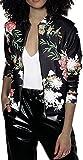 EUDOLAH Damen Blazer Strickjacke Sweatshirt mit Reissverschluss Streetwear Frühling Herbst Schwarz XL (Brust: 106cm Länge: 64cm)