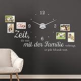 KLEBEHELD® Wandtattoo Uhr Familienzeit mit Fotorahmen und Spruch für Wohnzimmer und Wohnbereich Farbe braun, Größe 120x69cm ( B x H ) | Uhr silber| Umlauf 44cm