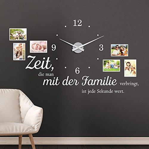 KLEBEHELD® Wandtattoo Uhr Familienzeit mit Fotorahmen und Spruch für Wohnzimmer und Wohnbereich Farbe schwarz, Größe 120x69cm (B x H) | Uhr schwarz | Umlauf 44cm