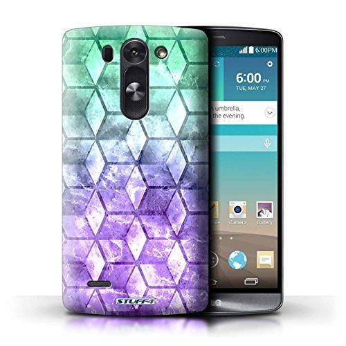 Kobalt® Imprimé Etui / Coque pour LG G3 S (Mini)/D722 / Jaun/Vert conception / Série Cubes colorés Vert/Violet