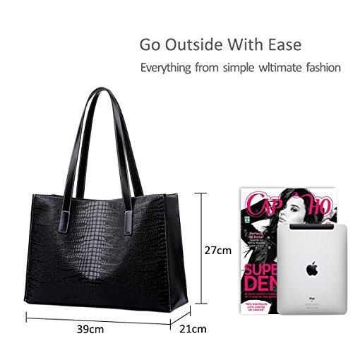 Nicole&Doris semplice big bag sacchetto di spalla casuale nuova borsa di coccodrillo borsa donne borsa(black) Black