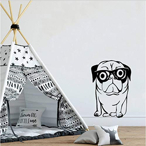 Wandtattoo Lustiger Hund Mit Brille Wandaufkleber Zoohandlung Tier Salon Dekor Abnehmbarer Welpe Wohnzimmer Interieur Poster 42x60cm