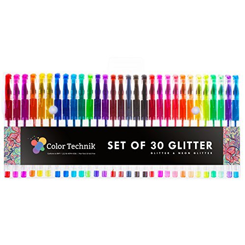 Glitter Gel Pens by Color Technik, Set of 30