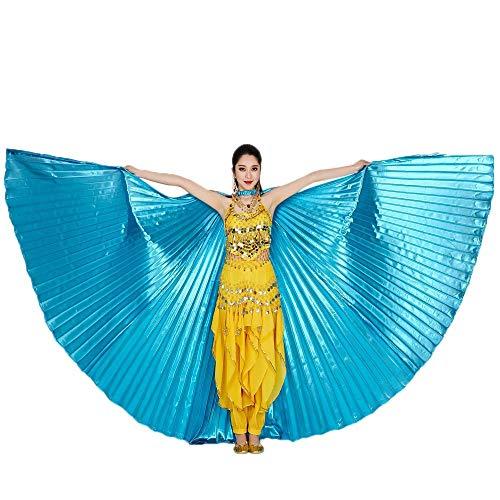 Chejarity Bauchtänzerin Isis Flügel Einfarbig Orientalischen Tanz Dance Fairy Schmetterlings Wings Multi Color Halloween Cosplay Cosplay Kostüm 360 Grad Bühnenauftritte Zubehör (142CM, Himmelblau)
