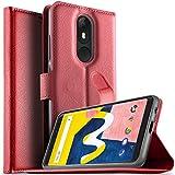 KuGi Wiko View Lite Hülle, Wiko View Lite Wallet Case, Brieftasche Case Hülle PU Kunstleder Flip Case mit Standfunktion Kartenfächer und Bargeld für Wiko View Lite Smartphone.Rot