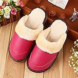 OMFGOD OMFGOD Slippers Männer Frauen Winter Home Hausschuhe Warm Anti-Slip Wasserdicht Innen Natur Leder Liebhaber Boden Schuhe