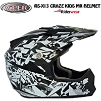 New Kids motocross casco RS pazzi x13Junior moto Quad ATV ACU ECE approvato on e off Road casco in nero/argento (M)