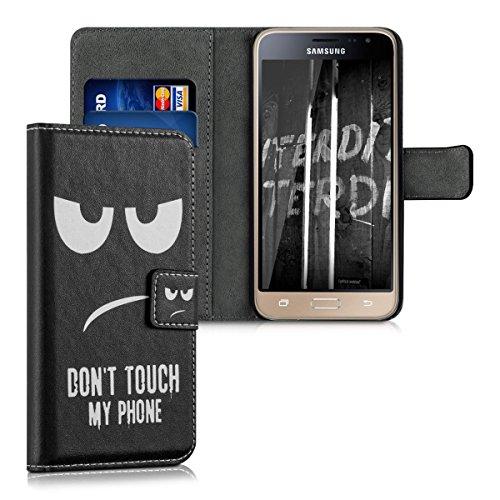 kwmobile Wallet Case Kunstlederhülle für > Samsung Galaxy J3 (2016) DUOS < - Cover Flip Tasche in Don't touch my Phone Design mit Kartenfach und Ständerfunktion in Weiß Schwarz