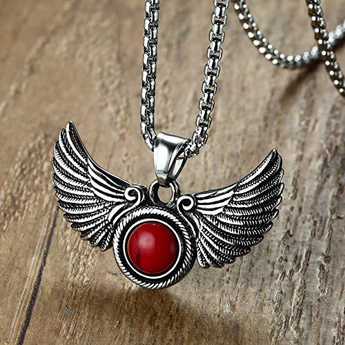 DADATU Halsketten für Herren Gothic Angel Wings Pendant Halskette Mit Red Stone Goth Male Schmuck Für Männer Frauen Edelstahl-Vintage-schmuck 24