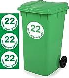 Mülltonne Aufkleber personalisierbar 3Stück Schilder Größe 18cm x 18cm D2