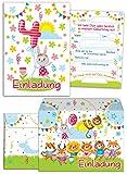 12 Einladungskarten zum 4. Kindergeburtstag für Mädchen incl.12 Umschläge / bunte Einladungen zum Geburtstag für Mädchen