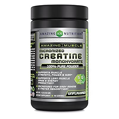 Amazing Muscle Micronized Creatine Monohydrate – 1 lb (453.5 grams) - 5000 mg Micronized Creatine Per Serving – Approx. 454 servings- Ideal Pre & Post Workout Supplement - Unflavored by Amazing Muscle