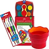 Faber-Castell - Wasserbecher Clic und Go, Lernmaterialien, rot + Pinsel Set + 12 Connector Farbkasten inkl. Deckweiß